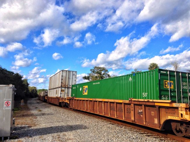 Freight train moving on track